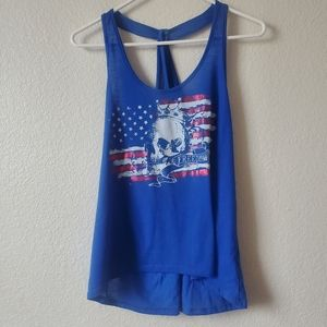 Blue Flag And Skull Freedom Tank Top